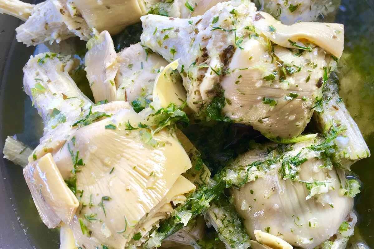 alcachofa con especias aceitunas lorente