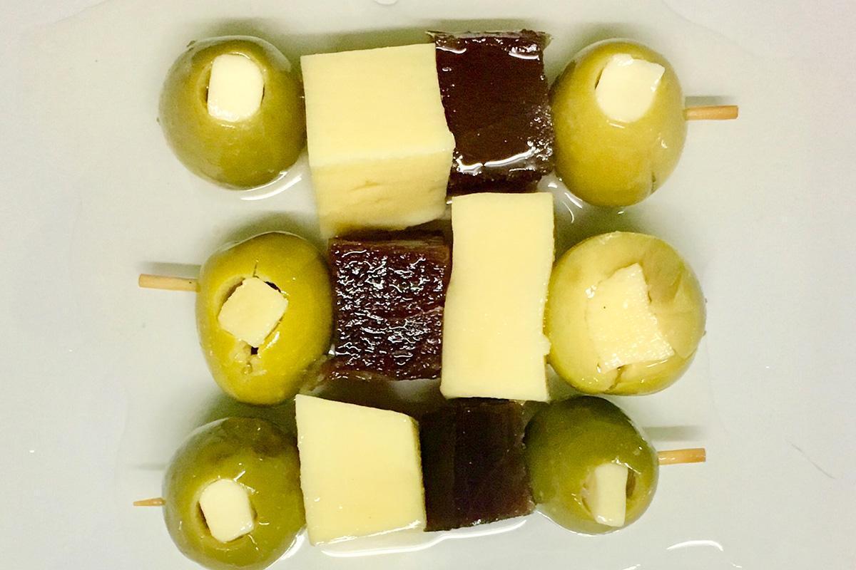 brochetas Gourmet de mojama aperitivo