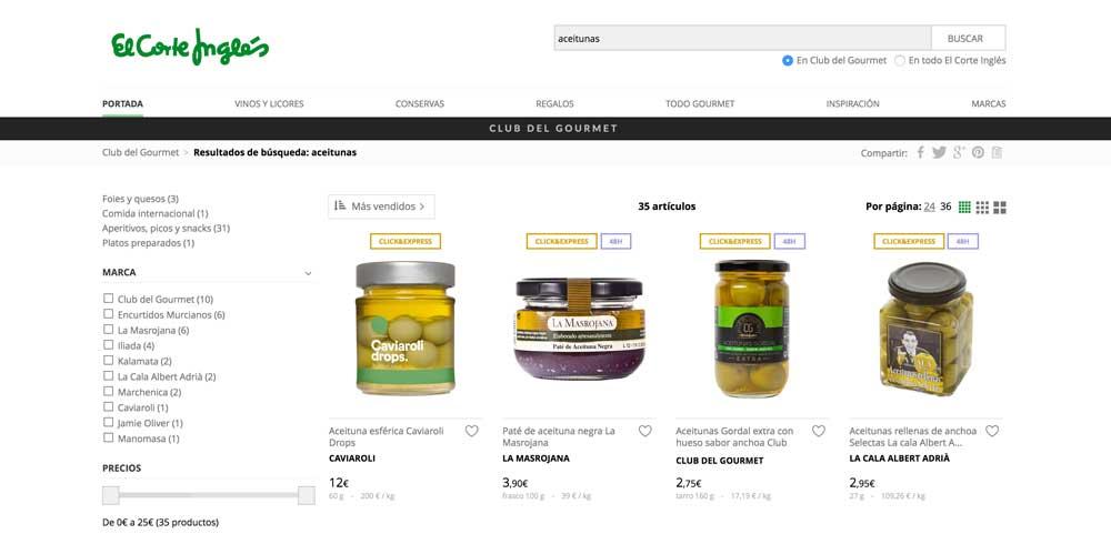 comprar aceitunas online en el corte inglés