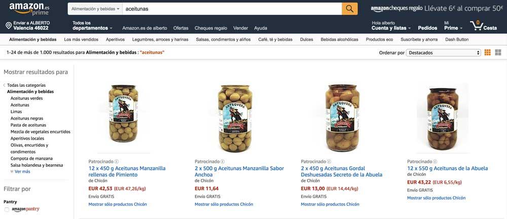comprar aceitunas por internet en amazon